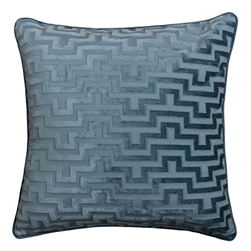 Homey Cozy Modern Velvet Maze Throw Pillow Cover,Ocean Blue Luxury Soft Fuzzy Cozy Warm Slik Decorative Square Couch Cushion Pillow Case 20 x 20 Inch, Cover Only