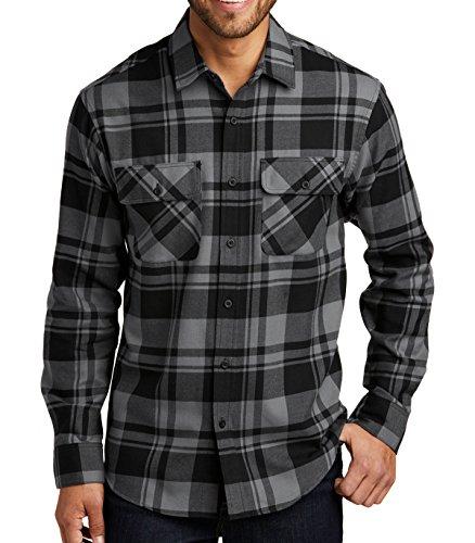 Mafoose Brawny Flannel Shirt Grey/Black S