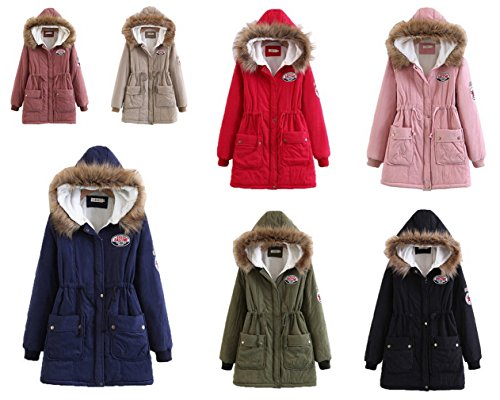 Winter Bigood Coat Hooded Puffer Jacket Warm Red Casual Women Ladies Parka ZPYYtwrq