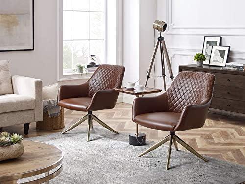 Art Leon Modern Upholstered Swivel Accent Chair