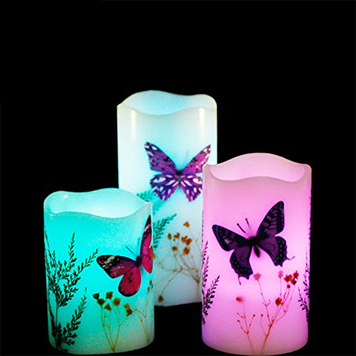 Zehui LED Candle Light 3pcs Colorful Changing Smokeless Non-burning Butterfly Atmosphere Decorative Lamp with 18 Keys Remote Control