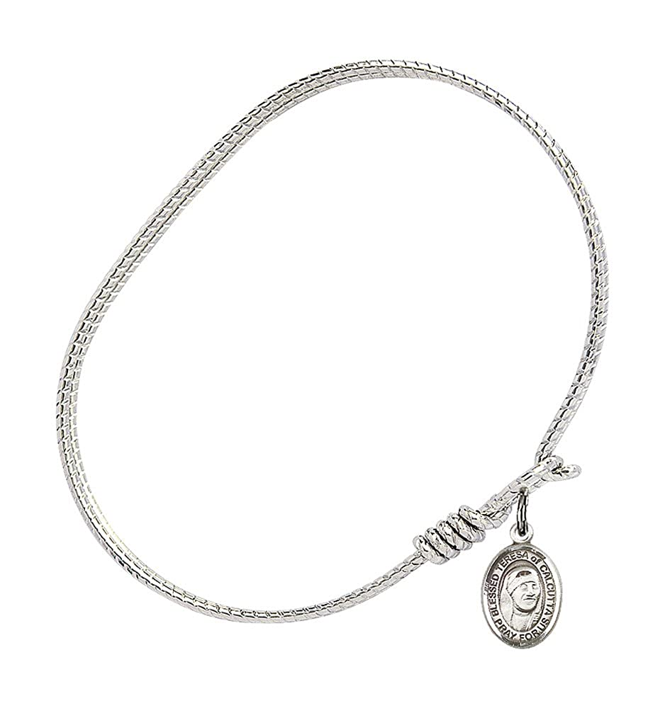 Blessed Teresa Of Calcutta Charm On A 6 1//4 Inch Oval Eye Hook Bangle Bracelet