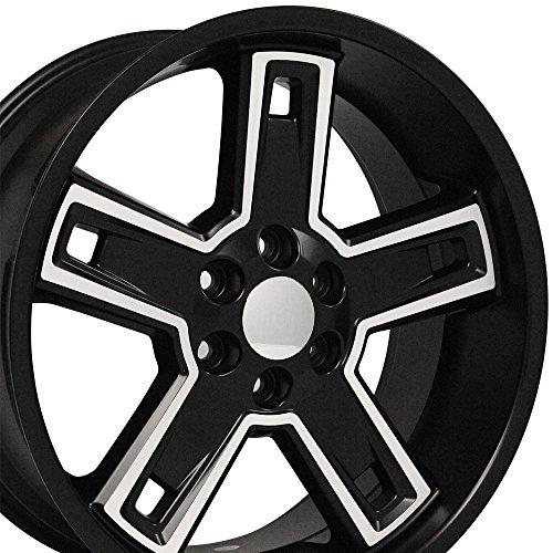 22x9.5 Wheel Fits GM Trucks & SUVs - Chevy Silverado Style DD Black Rim w/Mach'd Face, Hollander 5664 (Chevy Rims Truck)
