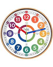 Learning Clock for Kids - Telling Time Teaching Clock - Kids Wall Clocks for Bedrooms - Kids Room Wall Decor - Silent Analog Kids Clock for Teaching Time - Kids Learn to Tell Time Easily