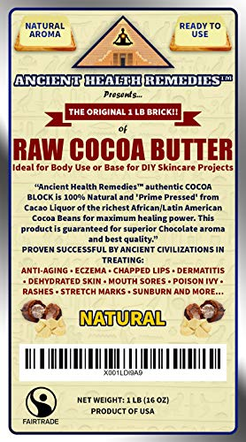 separation shoes f63ca 6f107 Amazon.com  Organic, Unrefined, Raw NATURAL COCOA (CACAO) BUTTER 1 LB (16  oz) BLOCK Best Price Highest Quality, Bulk Rich Chocolate Aroma For Lip  Balms, ...