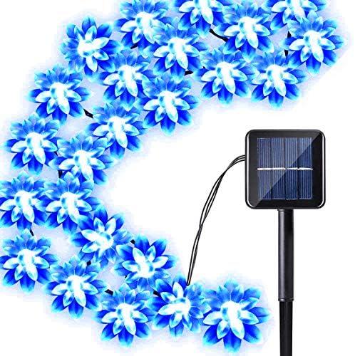 Solar Blume Außenlichterkette,KINGCOO Wasserdicht 23FT 50LED Lotus Blume Solar Lichterketten mit 8 Modus Weihnachtsbeleuchtung für Garten Hochzeit Party Dekoration (Blau)