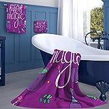 jecycleus Book Three-Piece Bathroom Luxury Set Full of Magic Witchcraft Three Sizes: Large, Medium and Small Small Three-Piece Towel