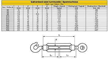 hook 1 pc//s galvanised steel turnbuckle M5 rope tensioner screw eye