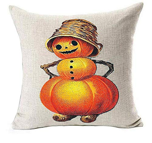 Happy Halloween Retro Cartoon Pumpkin Girl Moonlight Under Cat Bats Cotton Linen Throw Pillow Cover Cushion Case Holiday Decorative 18