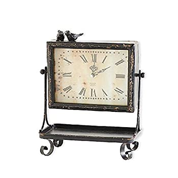 Rustic Black Metal Tray with Roman Numeral Clock