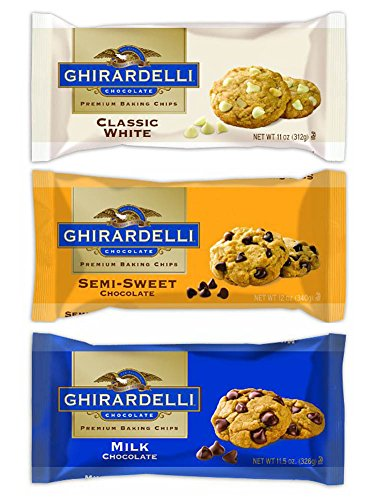 Ghirardelli Chocolate Premium Baking Chips Bundle: 1 Bag Each of Semi-sweet Chocolate Chips, Milk Chocolate Chips & White Chocolate Chips ()