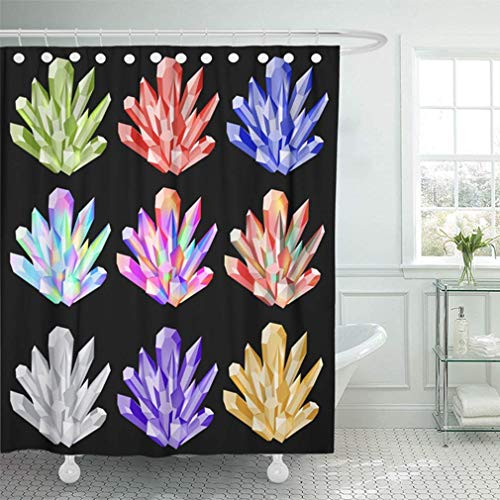 (PAUSEBOLL Groups Crystals Bright Shining Minerals On Black Opal Quartz Diamond Emerald Ruby Shower Curtain Bathroom with Hooks, Waterproof Home Decor Curtain)