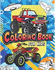 Coloring Book for Kids: Fun & Theme Based Coloring Book for Early Learning - Cartoon-Inspired Designs of Things that Go