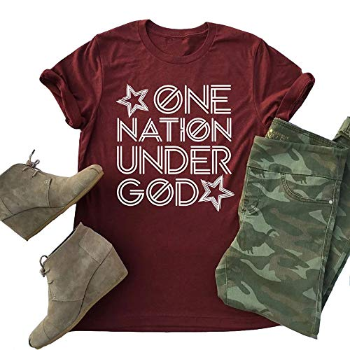 Adult Nation T-shirt - Amandon Womens July 4th T-Shirt Casual One Nation Under God Patriotic Graphic Tees Tops Wine Red