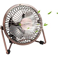Mini USB Table Desktop Personal Fan, Metal Design, Quiet Operation, USB Cable Powered, High Compatibility Personal Table Fan with Adjustable Tilt, Desk Cooling Fan for Home & Office (4 Inches, Bronze)