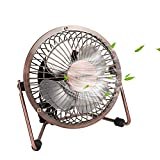 usb powered mini fan - Mini USB Table Desktop Personal Fan, Metal Design, Quiet Operation, USB Cable Powered, High Compatibility Personal Table Fan with Adjustable Tilt, Desk Cooling Fan for Home & Office (4 Inches, Bronze)