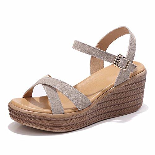 QPSSP Zapatos De Cuero Con Tacones Y Sandalias. gray