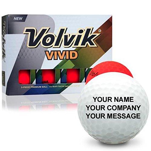 Volvik Vivid Matte Red Personalized Golf Balls (Personalized Matte)