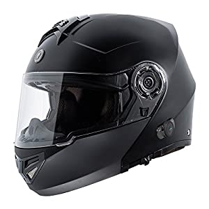 TORC TB27 Full Face Modular Helmet with Integrated Blinc Bluetooth (Flat Black, Large)