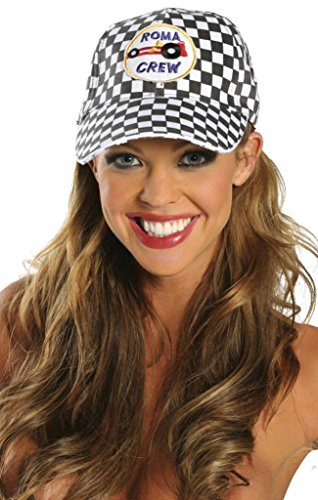 Checker Flag NASCAR Racer Girl Hat Halloween Accessory