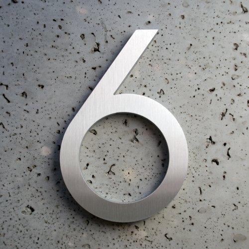 Modern House Number Aluminum Modern Font Number Six 6 - 8 inch - Aluminum House
