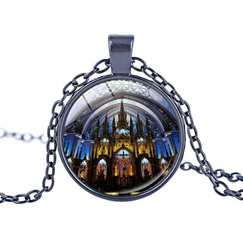 Notre Dame de Paris Cathedral Pendant Necklace – Haluoo Vintage Steampunk Glass Bronze Pendant Long Chain Necklaces French Lovers Jewelry Gift for Men and Women (C)