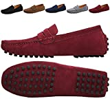 JIONS Men's Driving Penny Loafers Suede Driver Moccasins Slip On Flats Casual Dress Shoes Red 12 D(M) US/EU 48