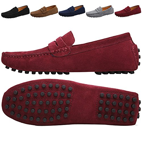 Reviews/Comments JIONS Men' Driving Penny Loafers Suede Driver Moccasins Slip Flats Casual Dress Boat Shoes Red