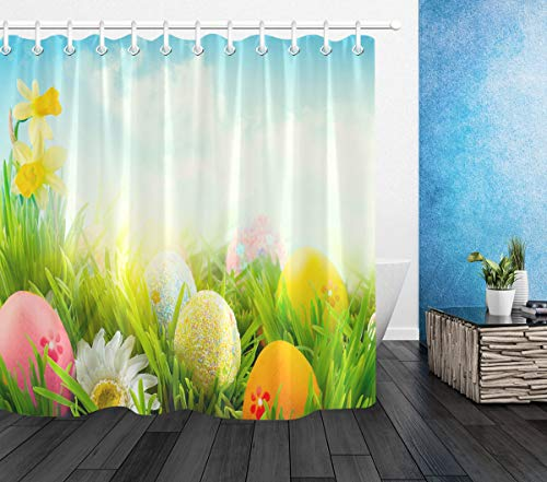 LB Happy Easter Theme Egg Decor Shower Curtain,Colorful Eggs in Grass Flowers Scene Blue Green Shower Curtains for Bathroom Waterproof Fabric 72x72 Inch with 12 Hooks