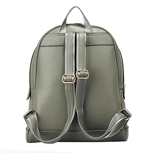 Women Faux School Leather Bag Grey Navy 0525 Backpack Spacious Bag Smooth Adjustable Strap rqZBrxa