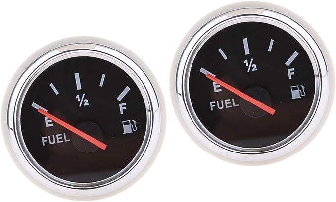 freneci Indicatore di Livello del Serbatoio del Carburante della Barca Universale da 2 Pezzi IP67 Impermeabile Nero