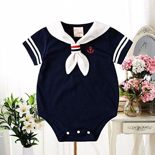 Zooarts Unisex-Babystrampler f/ür Neugeborene f/ür Fotoaufnahmen oder als Sommeroutfit geeignet f/ür M/ädchen und Jungen von 0 bis 24 Monaten Matrosen-Look 0-6 Months Baumwollmischung blau 60