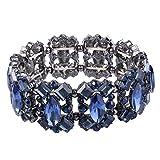 EVER FAITH Women's Crystal Vintage Style Elegant Bridal Elastic Stretch Bracelet Navy Blue Black-Tone