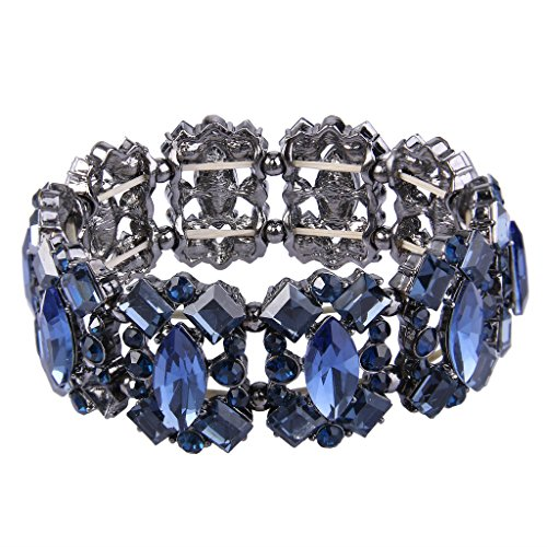 Crystal Vintage Style Bracelet - EVER FAITH Women's Crystal Vintage Style Elegant Bridal Elastic Stretch Bracelet Navy Blue Black-Tone