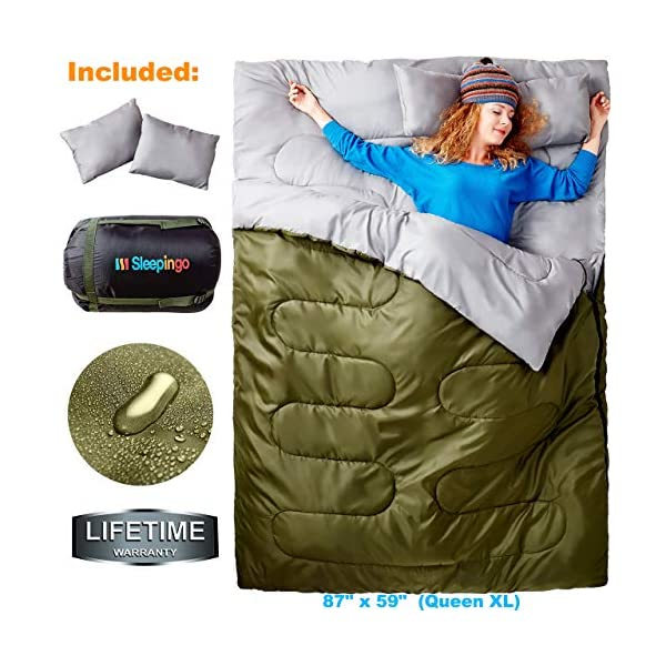 Sleepingo Double Sleeping Bag for Backpacking, Camping, Or Hiking. Queen Size XL! Cold Weather 2 Person Waterproof Sleeping Bag for Adults Or Teens. Truck, Tent, Or Sleeping Pad, Lightweight 3