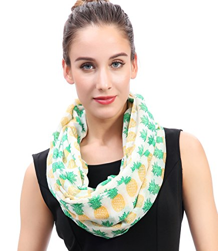 Lina & Lily Pineapple Print Womens Infinity Loop Scarf Large Size Lightweight (White)