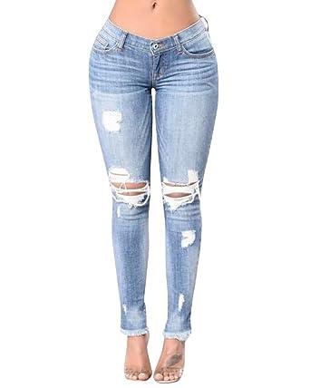 ZhuiKun Femme Taille Haute Denim Pantalons Jeans Slim Leggings Collant  Crayon Casual Déchiré Pants Bleu S dec238eeb70
