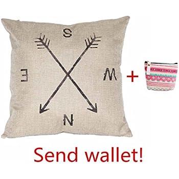 Iuhan® Fashion Compass Linen Throw Pillow Case Cushion Cover Home Decor
