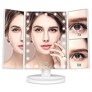 MayBeau Makeup Vanity Mirror with 7X/5X Magnification and 21 LED Lights, Touch Screen, 180 Degree Adjustable Rotation, Dual Power Supply