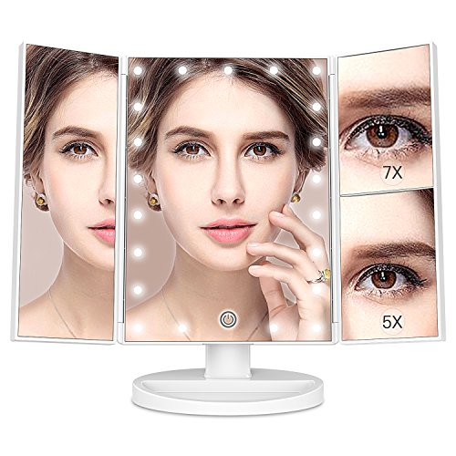 MayBeau Makeup Mirror with Lights, 7X/5X Magnification Vanity Mirror with 21 LED Lights, 180° Rotation Trifold Touch Screen Cosmetic Mirrors and Dual Power Supply by BESTOPE