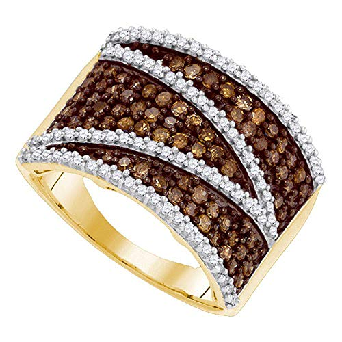 Jewel Tie Size - 9-10k Yellow Gold Round Chocolate Brown And White Diamond Wedding Band OR Fashion Ring (1.0 cttw.)