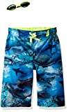 ZeroXposur Big Boys' Surf UPF 50 + Swim Trunks with Goggles, Deep Aqua, 10/12