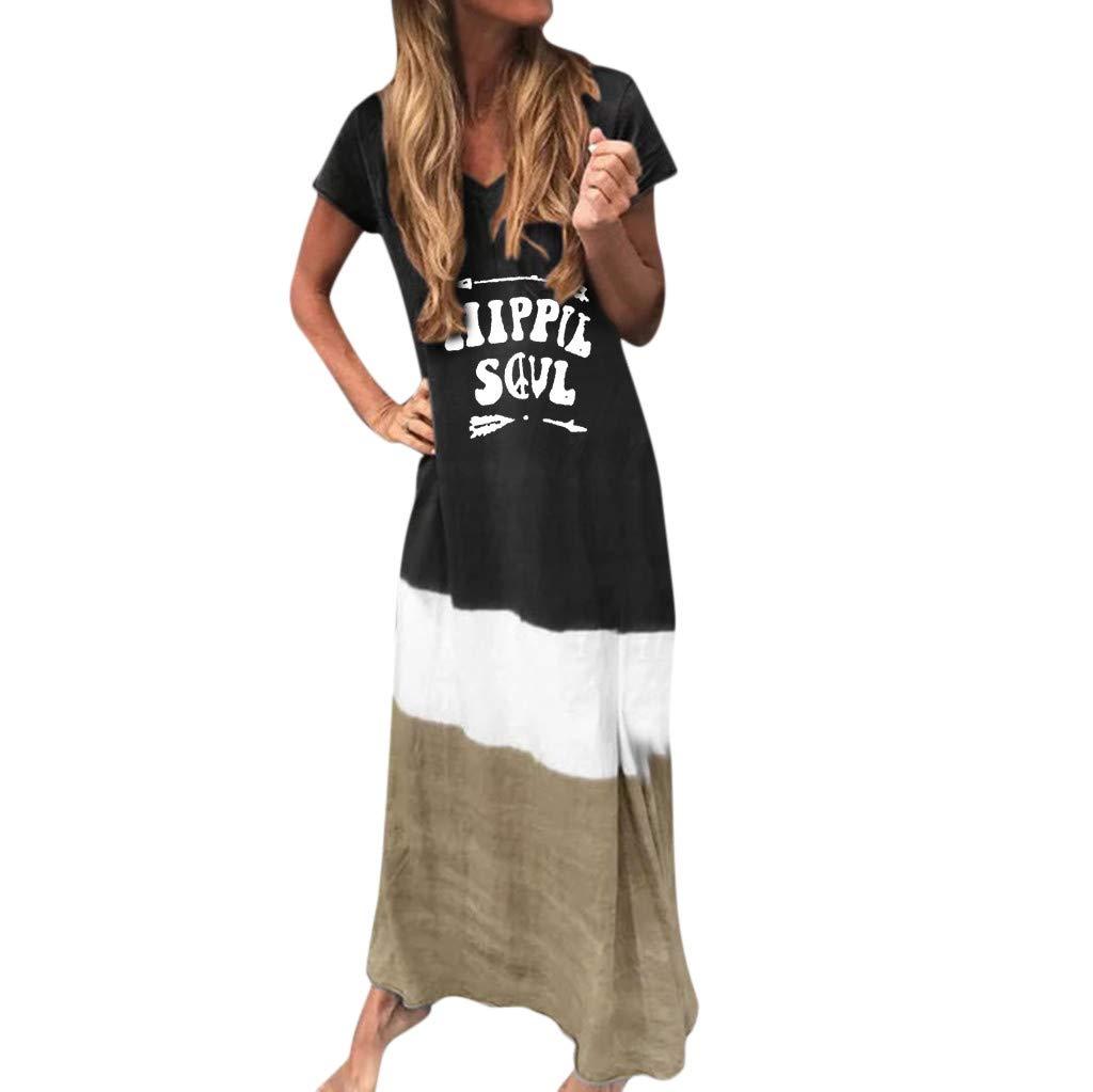 Caopixx Women Plus Size Long Maxi Dress Tie-Dyed Color Loose V Neck Short Sleeve Casual Dress Black