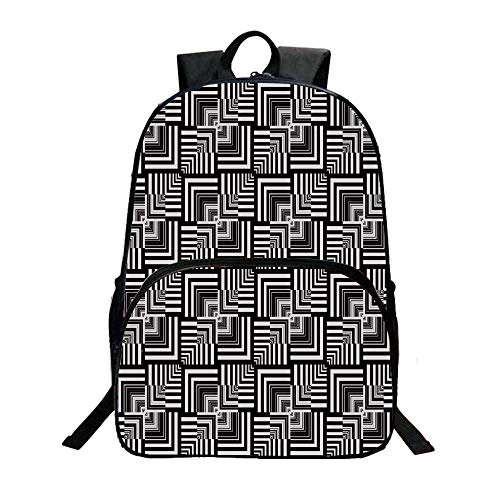Black and White Fashionable Backpack,Geometric Op Art Pattern Unusual Checked Optical Illusion Effect Modern Decorative for Boys,11.8