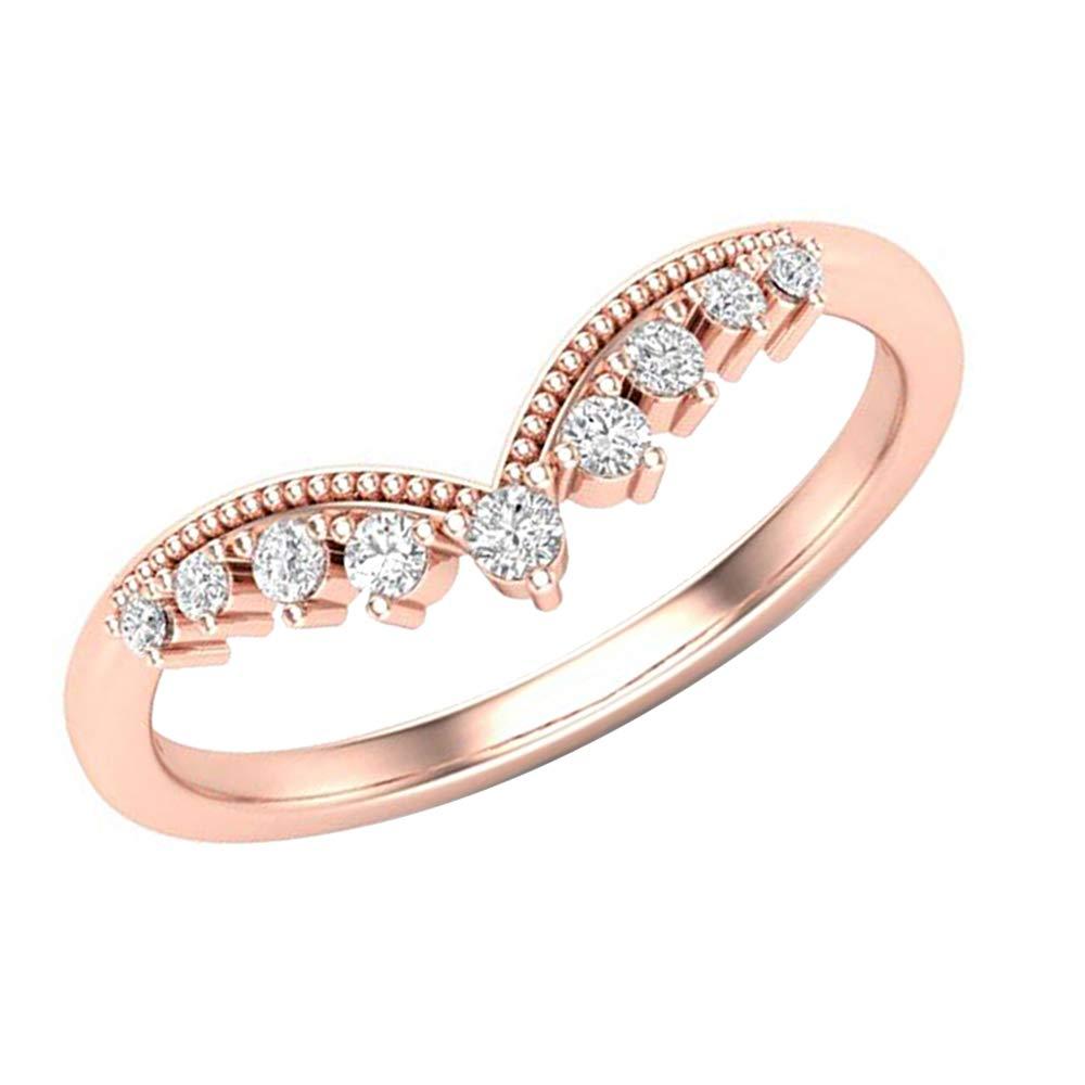1.00 Ct Round Cut Simulated Diamond Curved Milgrain Wedding band 14k Rose Gold Finish