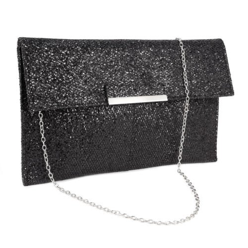The Pecan Man Black and gold Metal Bar Flap Glitter Shimmer Lurex Women Clutch Soft Shoulder Bag (Lurex Liner)