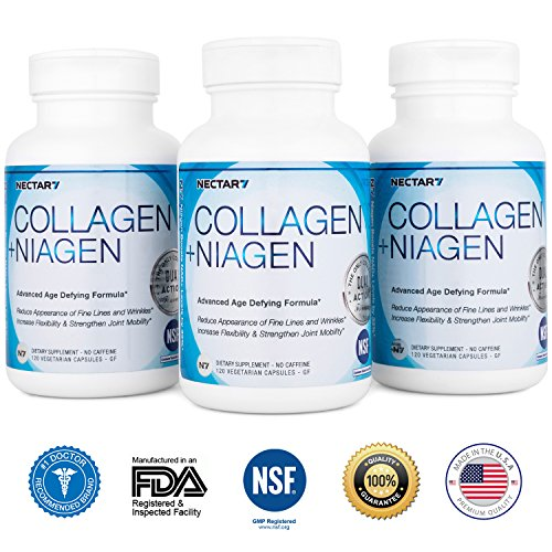 Nectar7 Collagen with Niagen Nicotinamide Riboside (NR) & Hyaluronic Acid, 90 Day Supply