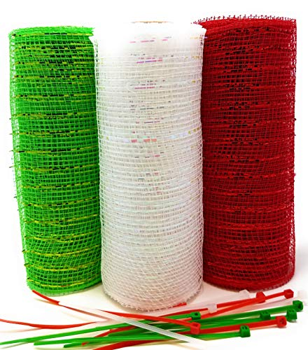 Classic Christmas Decorative 5 Yard Mesh Rolls (Pack of 3) for Crafting Wreaths with Zip Ties for Securing Mesh to Frames (Red, Green, White) ()