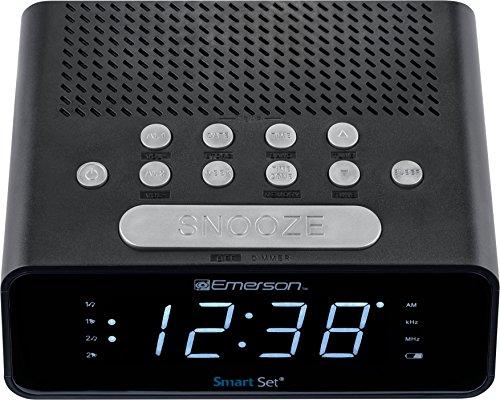 "Emerson ER100101 SmartSet Alarm Clock Radio with AM/FM Radio, Dimmer, Sleep Time and .9"" White LED Display"
