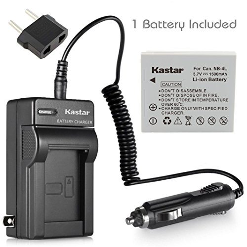 Kastar Battery (1-Pack) and Charger Kit for Canon NB-4L, ...